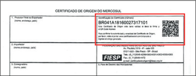 Certificado mostrando a localização exata do QR-Code no documento